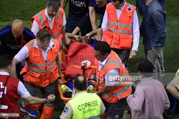 Barcelona's Argentinian defender Javier Mascherano is stretched out during the Spanish Copa del Rey final football match FC Barcelona vs Deportivo...