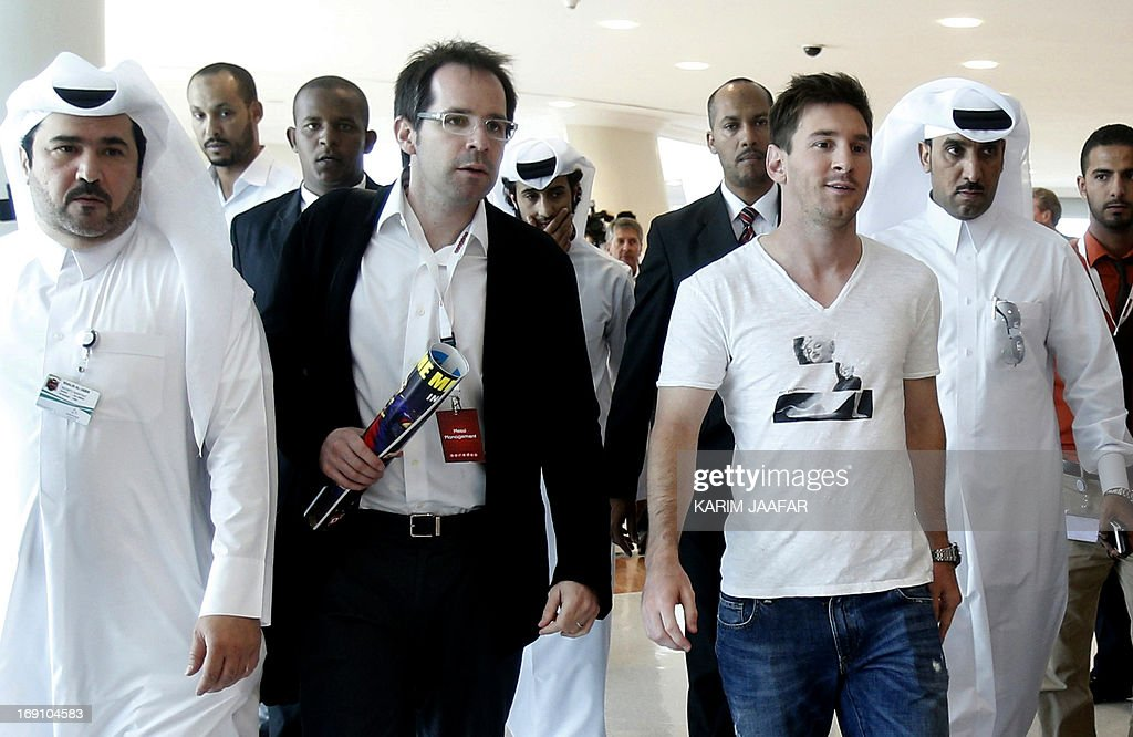 Barcelona's Argentinian football player Lionel Messi is seen following a press conference at the Aspire Academy of Sports Excellence, in Doha, on May 20, 2013.