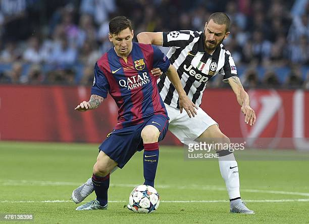 Barcelona's Argentinian forward Lionel Messi and Juventus' defender Leonardo Bonucci vie for the ball during the UEFA Champions League Final football...