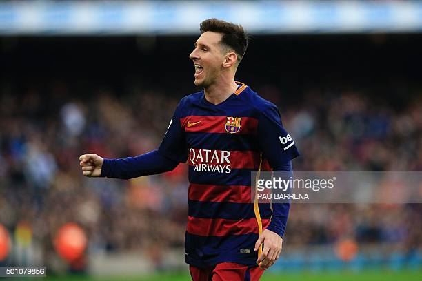 FC Barcelona's Argentinian forward Lionel Messi celebrates a goal during the Spanish league football match FC Barcelona vs RC Deportivo La Coruna at...