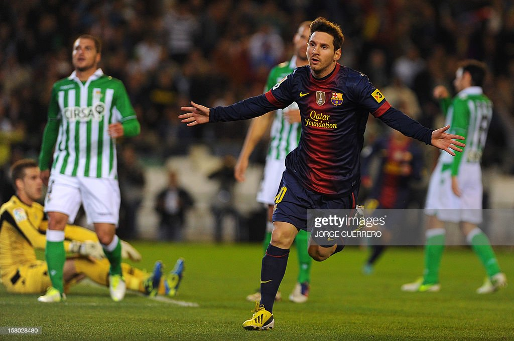 Barcelona's Argentinian forward Lionel Messi celebrates after scoring during the Spanish league football match Real Betis vs FC Barcelona on December 9, 2012 at the Benito Villamarin stadium in Sevilla. AFP PHOTO/ JORGE GUERRERO