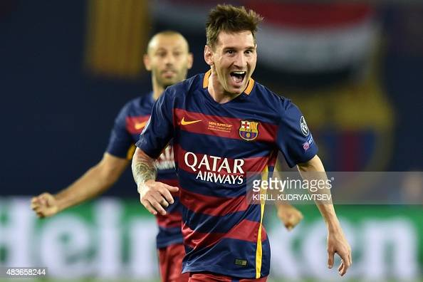 Barcelona's Argentinian forward Lionel Messi celebrates after scoring a goal during the UEFA Super Cup final football match between FC Barcelona and...