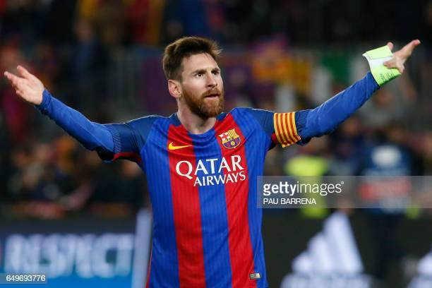 TOPSHOT Barcelona's Argentinian forward Lionel Messi celebrates at the end of the UEFA Champions League round of 16 second leg football match FC...