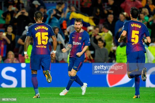 Barcelona's Argentinian forward Lionel Messi celebrates his goal number 100 in a European competition during the UEFA Champions League group D...