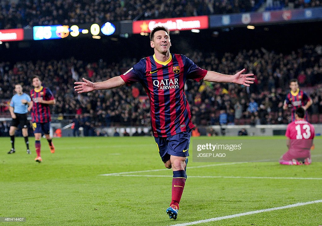 Barcelona's Argentinian forward Lionel Messi celebrates his goal during the Spanish Copa del Rey (King's Cup) football match Barcelona vs Getafe at the Camp Nou stadium in Barcelona on January 8, 2014.
