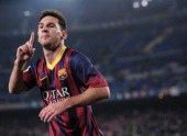 Barcelona's Argentinian forward Lionel Messi celebrates his goal during the Spanish Copa del Rey football match Barcelona vs Getafe at the Camp Nou...