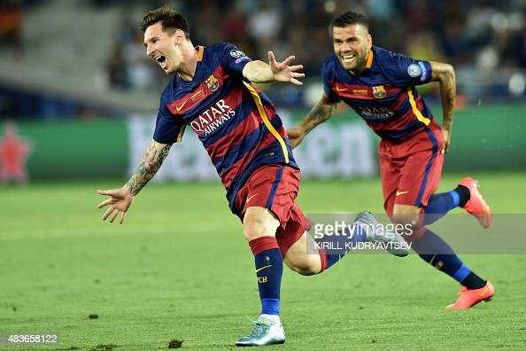 Barcelona's Argentinian forward Lionel Messi celebrates scoring a goal during the UEFA Super Cup final football match between FC Barcelona and...