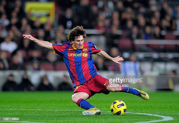 Barcelona's Argentinian forward Lionel Messi kicks the ball during the Copa del Rey football match FC Barcelona vs Real Betis on January 12 2011 at...