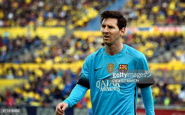 Barcelona's Argentinian forward Lionel Messi leaves the pitch at the end of the Spanish league football match UD Las Palmas vs FC Barcelona at the...