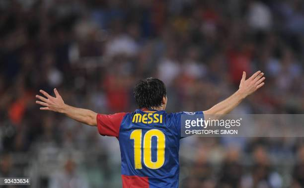 Barcelona´s Argentinian forward Lionel Messi reacts during the final of the UEFA football Champions League against Manchester United on May 27 2009...