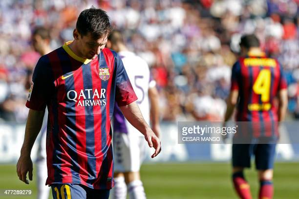 Barcelona's Argentinian forward Lionel Messi reacts during the Spanish league football match Valladolid vs FC Barcelona at the Jose Zorilla stadium...