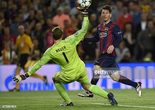 Barcelona's Argentinian forward Lionel Messi scores a goal during the UEFA Champions League football match FC Barcelona vs FC Bayern Muenchen at the...