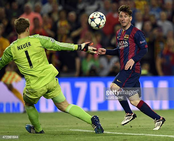 Barcelona's Argentinian forward Lionel Messi shoots to score a goal during the UEFA Champions League football match FC Barcelona vs FC Bayern...