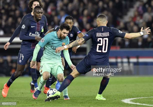 TOPSHOT Barcelona's Argentinian forward Lionel Messi vies with Paris SaintGermain's French defender Layvin Kurzawa during the UEFA Champions League...