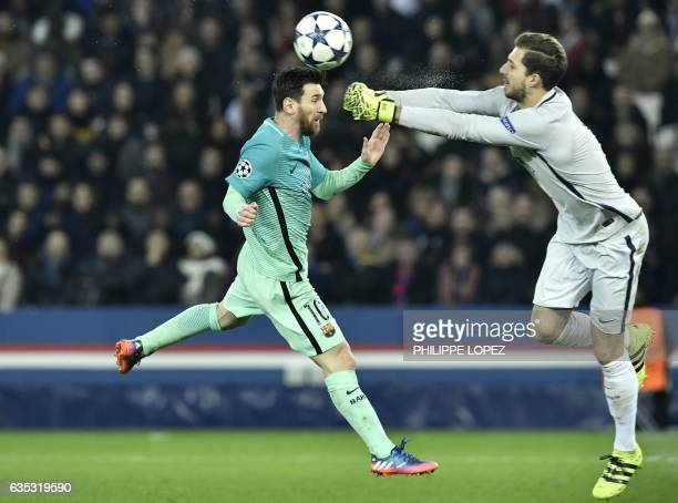 TOPSHOT Barcelona's Argentinian forward Lionel Messi vies with Paris SaintGermain's German goalkeeper Kevin Trapp during the UEFA Champions League...