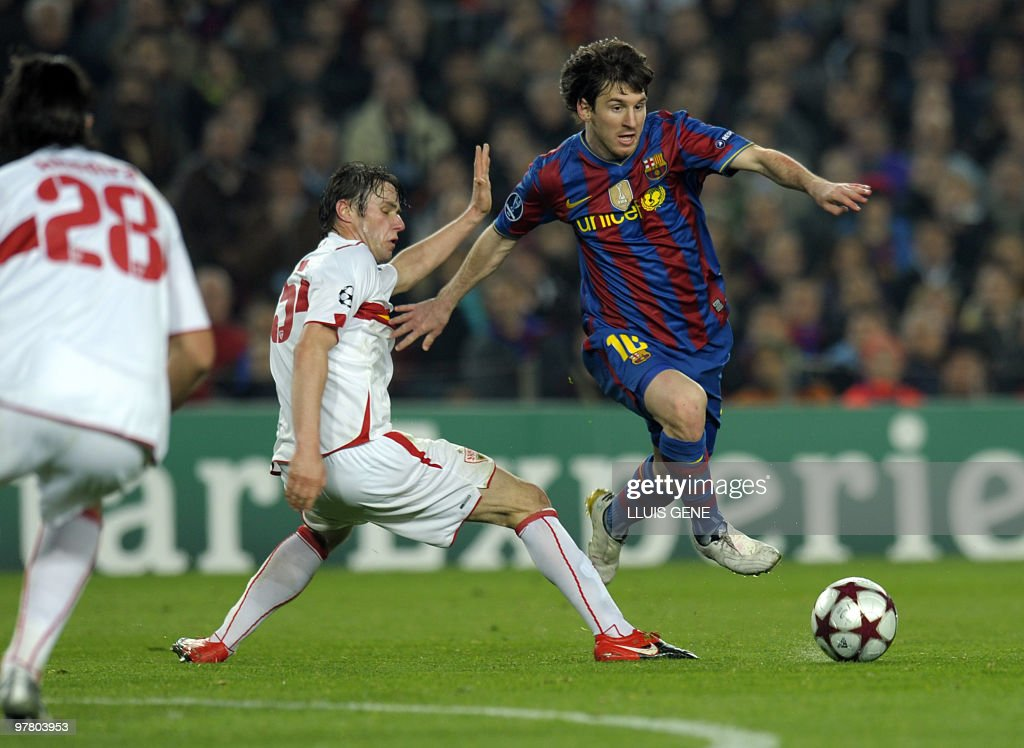 Barcelona's Argentinian forward Lionel Messi (R) vies with Stuttgart's defender Christian Traesch (L) during the UEFA Champions League football match between Barcelona and Stuttgart at the Camp Nou stadium in Barcelona on March 17, 2010 in Barcelona. Barcelona win 5-1 on aggregate.