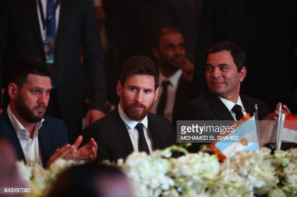 Barcelona's Argentinian striker Lionel Messi attends a press conference in Cairo's northern Giza district on February 21 2017 Messi arrived in Egypt...