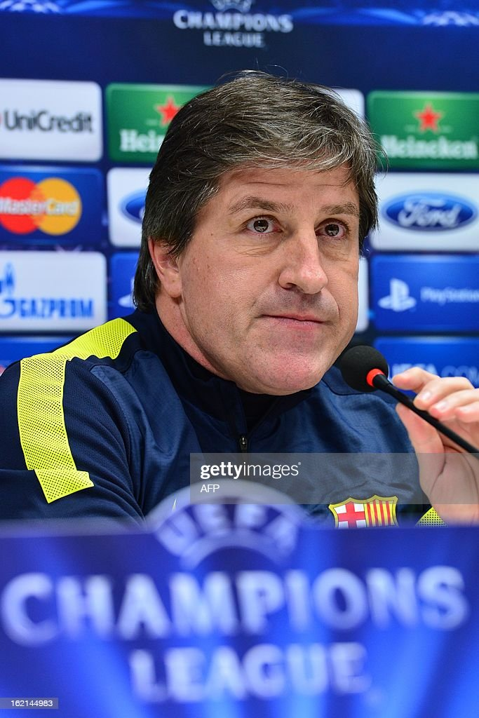 Barcelona's assistant coach Jordi Roura attends a press conference on the eve of the Champions League football match between AC Milan and FC Barcelona on February 19, 2013 at San Siro Stadium in Milan.