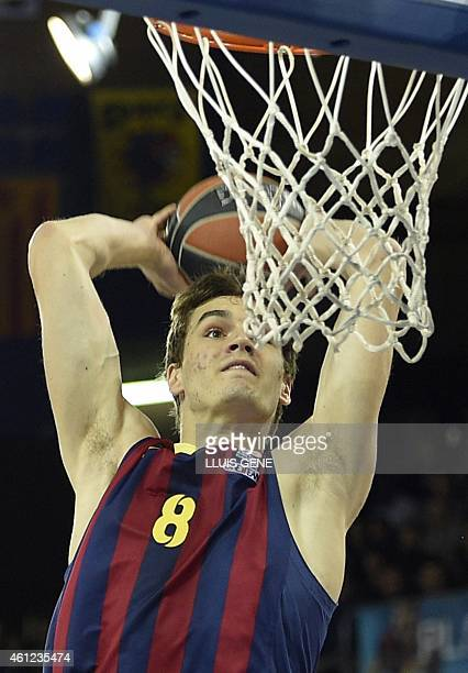 Barcelona's Barcelona's Croatian forward Mario Hezonja goes for a basket during the Euroleague basketball match FC Barcelona vs Panathinaikos Athens...