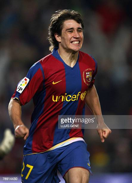 FC Barcelona's Bojan celebrates after scoring the second goal against Murcia during their Spanish League football match at Camp Nou stadium in...