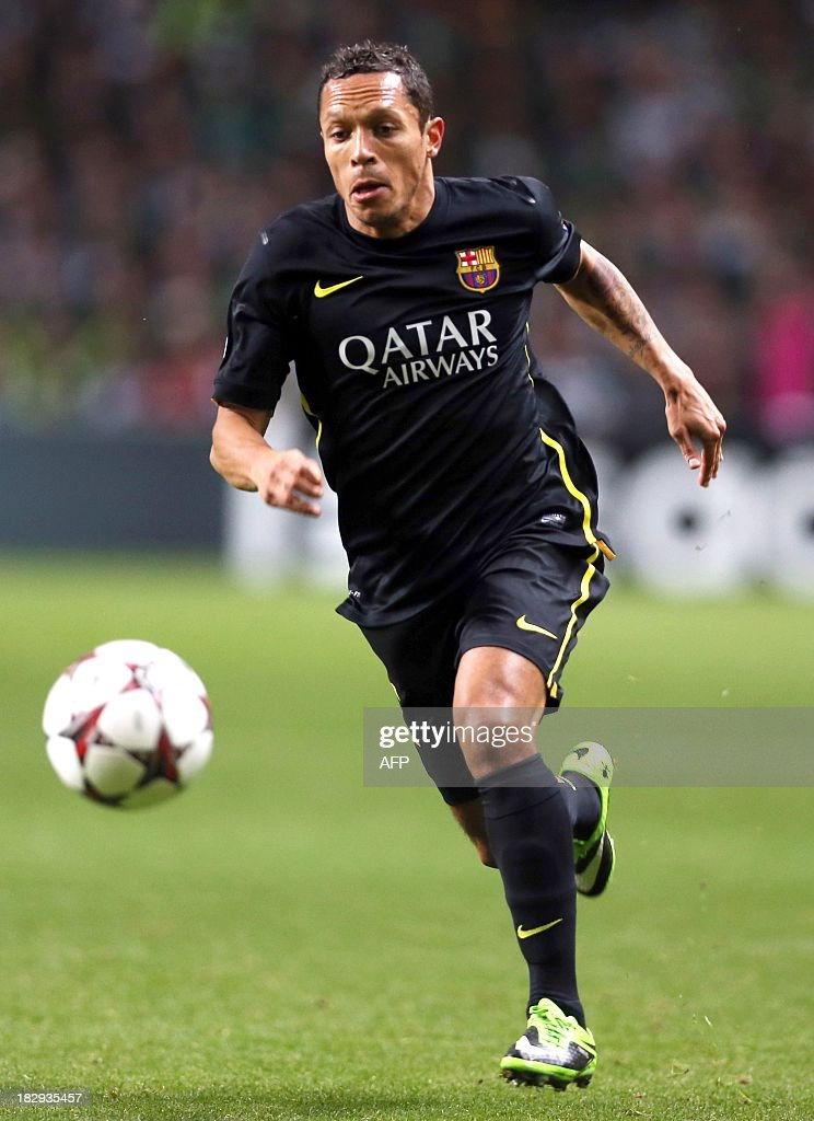 Barcelona's Brazilian defender Adriano controls the ball during their UEFA Champions League Group H football match between Celtic and Barcelona at Celtic Park in Glasgow on October 1, 2012.