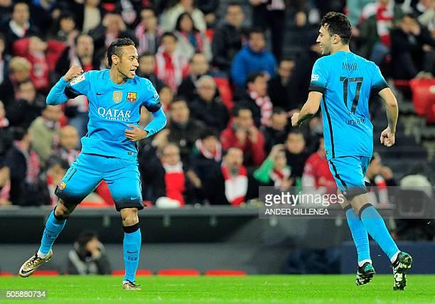 Barcelona's Brazilian forward Neymar da Silva Santos Junior celebrates a goal with teammate forward Munir El Haddadi during the Spanish Copa del Rey...