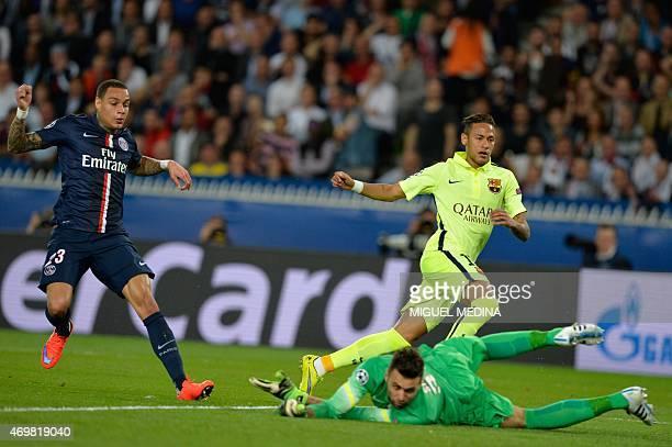 Barcelona's Brazilian forward Neymar da Silva Santos Junior scores past Paris SaintGermain's Italian goalkeeper Salvatore Sirigu and Paris...