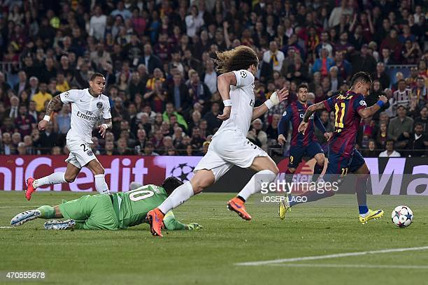 Barcelona's Brazilian forward Neymar da Silva Santos Junior scores past Paris SaintGermain's Italian goalkeeper Salvatore Sirigu during the UEFA...