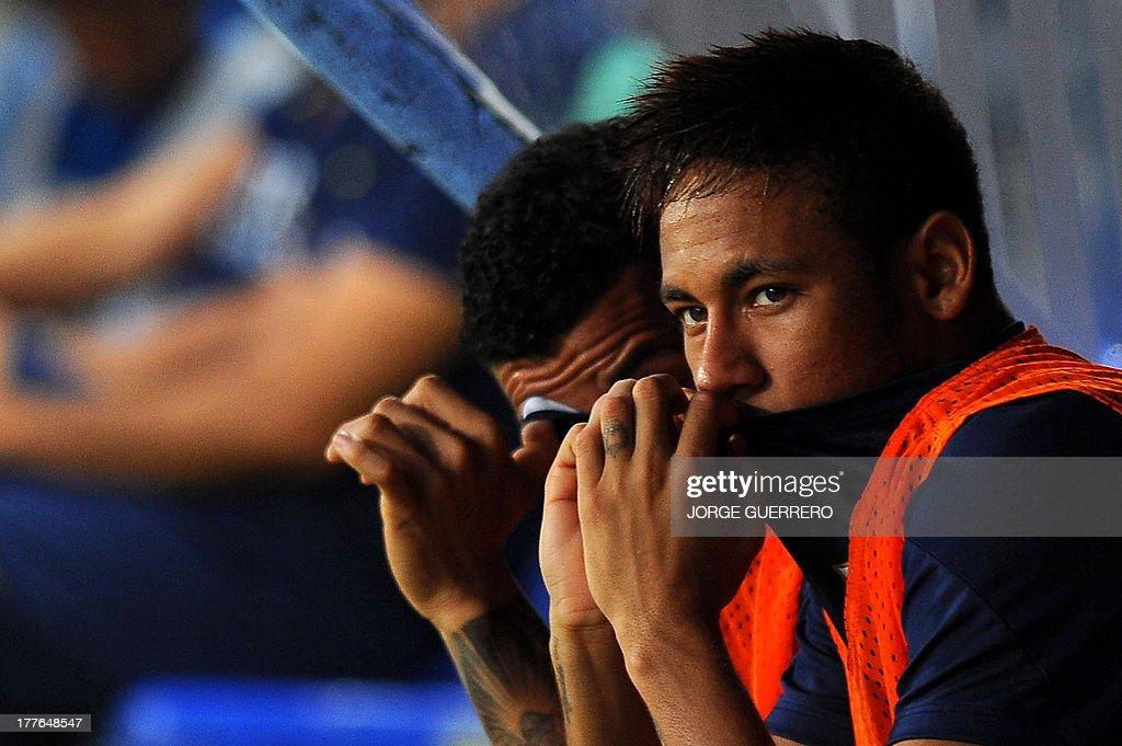 Barcelona's Brazilian forward Neymar da Silva Santos looks on during the Spanish league football match Malaga CF vs FC Barcelona at Rosaleda stadium in Malaga on August 25, 2013.