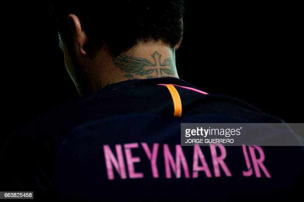 Barcelona's Brazilian forward Neymar da Silva stands during the Spanish league football match Granada FC vs FC Barcelona at Nuevo Los Carmenes...