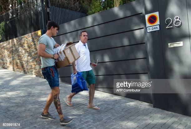 Barcelona's Brazilian forward Neymar's agent Wagner Ribeiro arrives at the player's house in Barcelona on August 3 2017 Spain's La Liga refused to...