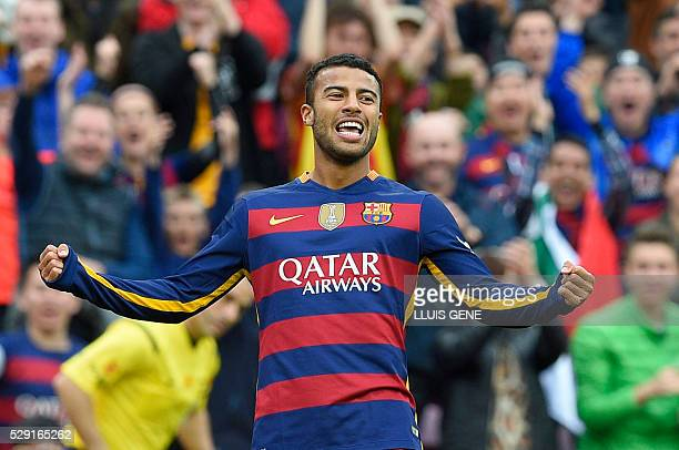 Barcelona's Brazilian midfielder Rafinha celebrates a goal during the Spanish league football match FC Barcelona vs RCD Espanyol at the Camp Nou...
