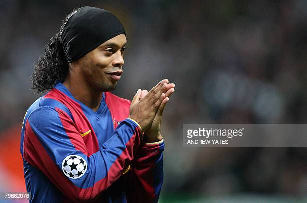 Barcelona's Brazilian midfielder Ronaldinho rubs his hands before the game against Celtic in the UEFA Cup Champions League at Celtic Park Glasgow...