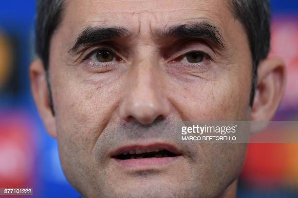 Barcelona's coach Ernesto Valverde from Spain attends a press conference on the eve of the UEFA Champions League football match Juventus Vs Barcelona...