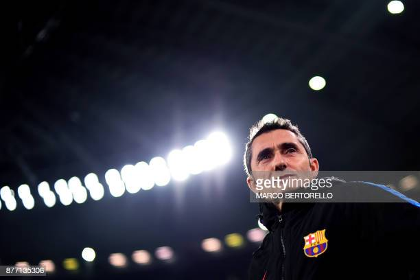 Barcelona's coach Ernesto Valverde from Spain attends a training session on the eve of the UEFA Champions League football match Juventus Vs Barcelona...