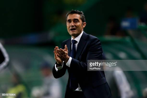 Barcelona's coach Ernesto Valverde reacts during the Champions League 2017/18 match between Sporting CP vs FC Barcelona in Lisbon on September 27 2017
