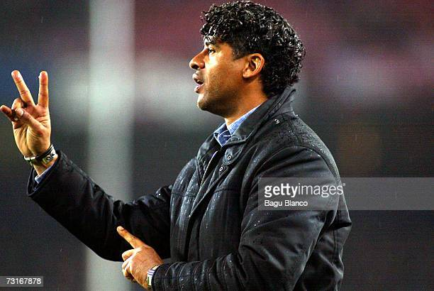 Barcelona's coach Frank Rijkaard gestures during the match between FC Barcelona and Real Zaragoza part of the Spanish Copa del Rey Quarterfinals...