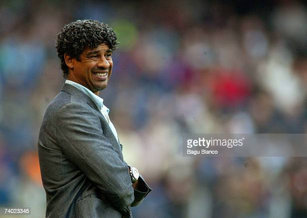 Barcelona's coach Frank Rijkaard watches on during the match between FC Barcelona and Levante of La Liga on April 29 played at the Camp Nou stadium...