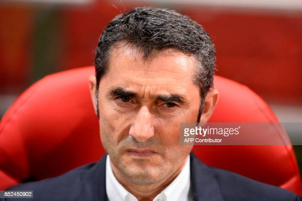 Barcelona's coach from Spain Ernesto Valverde looks on before the Spanish league football match Girona FC vs FC Barcelona at the Montilivi stadium in...