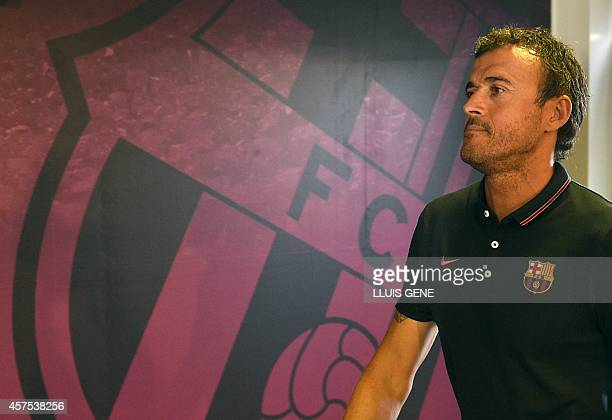 Barcelona's coach Luis Enrique arrives prior to a press conference at the Sports Center FC Barcelona Joan Gamper in Sant Joan Despi near Barcelona on...