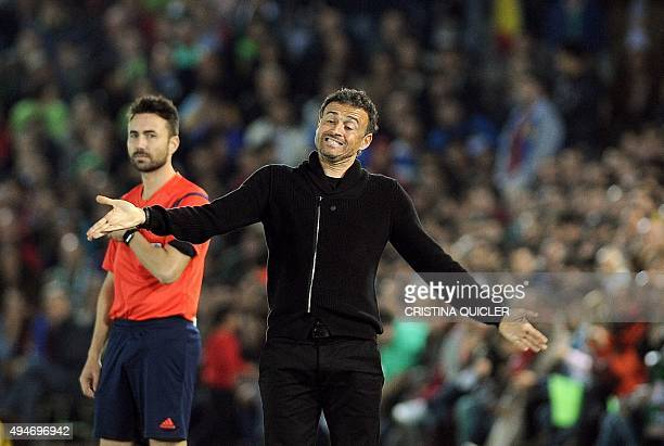 Barcelona's coach Luis Enrique grimaces during the Spanish Copa del Rey Round of 32 first leg football match CF Villanovense vs FC Barcelona at the...