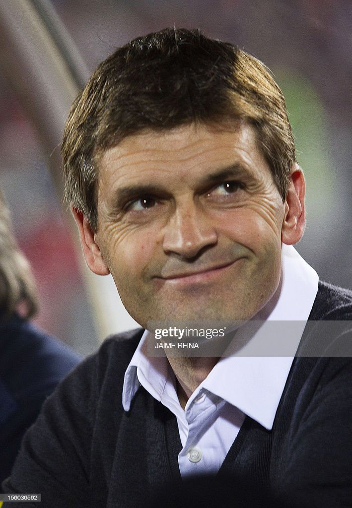 Barcelona's coach <a gi-track='captionPersonalityLinkClicked' href=/galleries/search?phrase=Tito+Vilanova&family=editorial&specificpeople=5807709 ng-click='$event.stopPropagation()'>Tito Vilanova</a> smiles during the Spanish league football match Mallorca vs FC Barcelona at the Iberostar stadium in Palma de Mallorca on November 11, 2012. Barcelona defeated Mallorca 4-2.