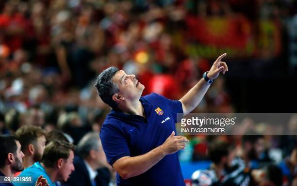 Barcelona's coach Xavi Pascual Fuentes reacts during Handball EHF Champions League Final Four semi final match between HC Vardar and FC Barcelona...