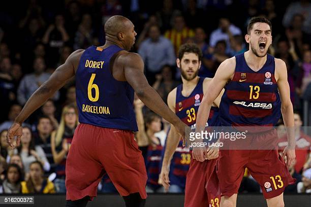 Barcelona's Czech guard Tomas Satoransky celebrates after scoring during the Euroleague top 16 group F basketball match FC Barcelona Lassa vs Real...