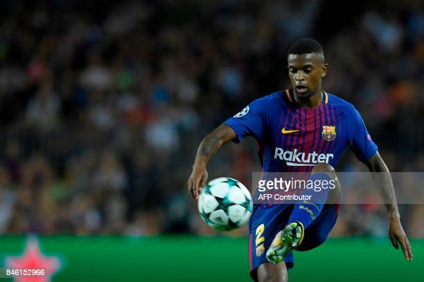 Barcelona's defender from Portugal Nelson Semedo controls the ball during the UEFA Champions League Group D football match FC Barcelona vs Juventus...