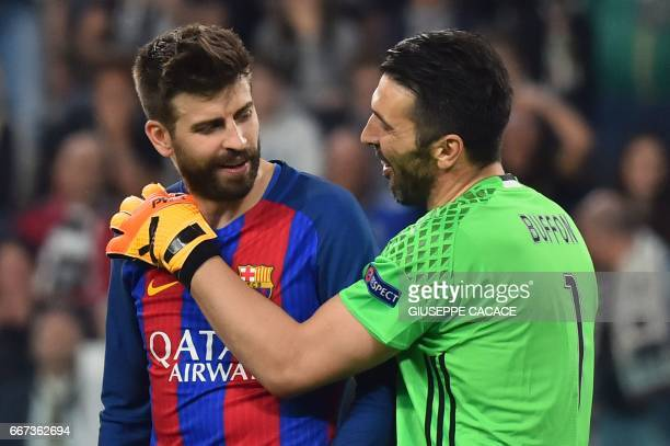 Barcelona's defender Gerard Pique speaks with Juventus' goalkeeper from Italy Gianluigi Buffon during the UEFA Champions League quarter final first...