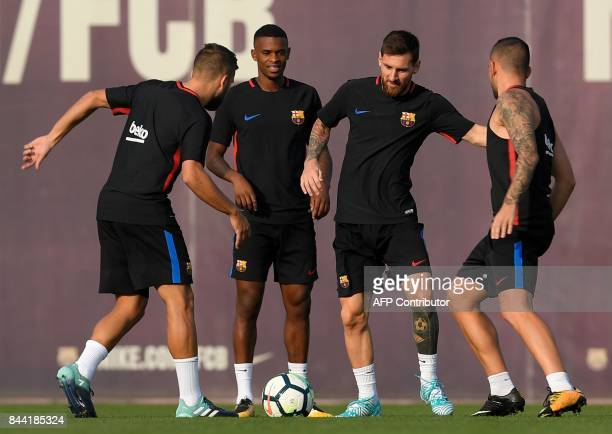 Barcelona's defender Jordi Alba Barcelona's french forward Ousmane Dembele Barcelona's Argentinian forward Lionel Messi and Barcelona's forward Paco...