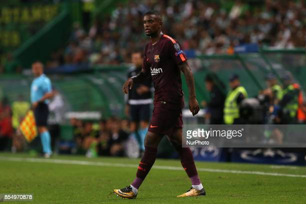 Barcelonas defender Nelson Semedo from Portugal during the match between Sporting CP v FC Barcelona UEFA Champions League playoff match at Estadio...