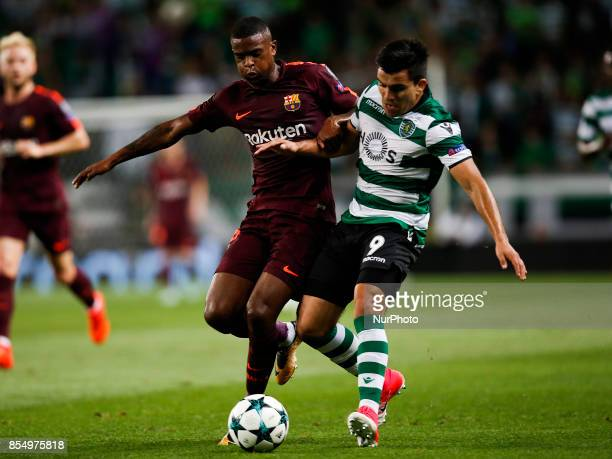 Barcelona's defender Nelson Semedo vies for the ball with Sporting's midfielder Marcos Acuna during the Champions League 2017/18 match between...