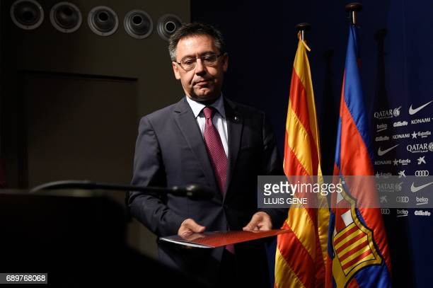 Barcelona's football club president Josep Maria Bartomeu arrives to a a press conference on May 29 2017 at Camp Nou stadium in Barcelona to announce...
